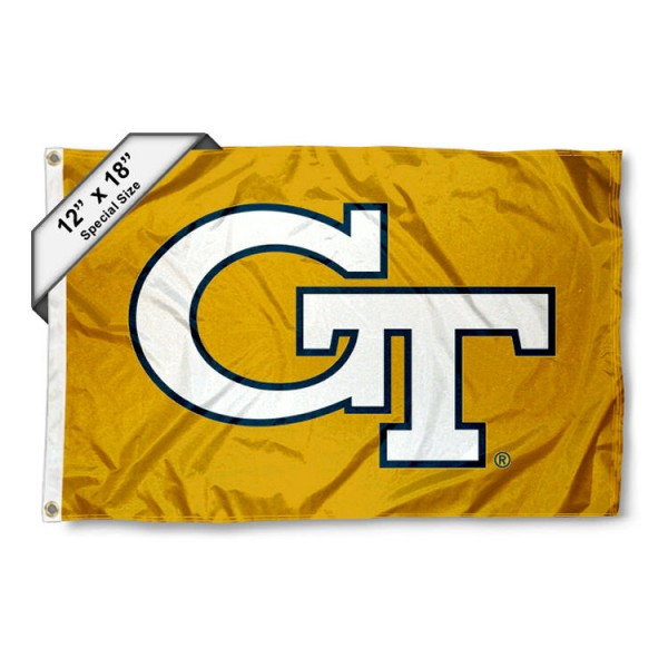 Georgia Tech Yellow Jackets Mini Flag is 12x18 inches, polyester, offers quadruple stitched flyends for durability, has two metal grommets, and is double sided. Our mini flags for Georgia Tech Yellow Jackets are licensed by the university and NCAA and can be used as a boat flag, motorcycle flag, golf cart flag, or ATV flag
