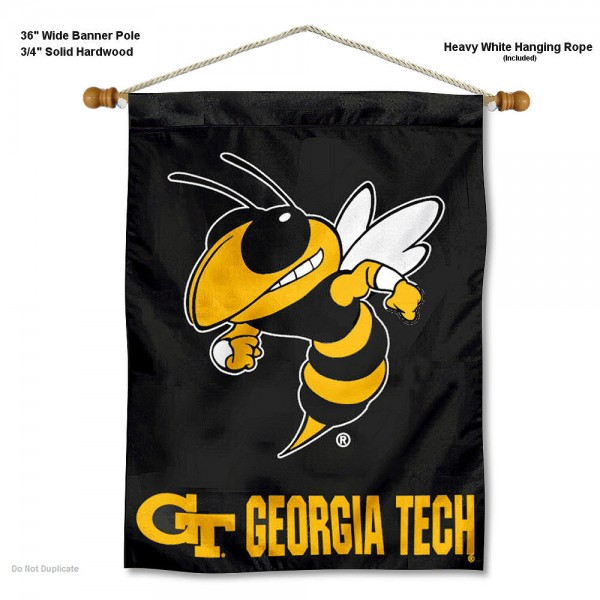 """Georgia Tech Yellow Jackets Wall Banner is constructed of polyester material, measures a large 30""""x40"""", offers screen printed athletic logos, and includes a sturdy 3/4"""" diameter and 36"""" wide banner pole and hanging cord. Our Georgia Tech Yellow Jackets Wall Banner is Officially Licensed by the selected college and NCAA."""