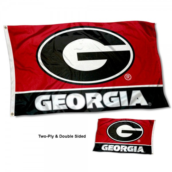 Georgia UGA Bulldogs Double Sided G Logo Flag measures 3'x5', is made of 2 layer 100% polyester, has quadruple stitched flyends for durability, and is readable correctly on both sides. Our Georgia UGA Bulldogs Double Sided G Logo Flag is officially licensed by the university, school, and the NCAA.
