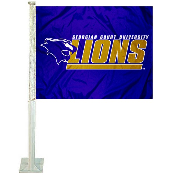 Georgian Court Lions Car Window Flag measures 12x15 inches, is constructed of sturdy 2 ply polyester, and has screen printed school logos which are readable and viewable correctly on both sides. Georgian Court Lions Car Window Flag is officially licensed by the NCAA and selected university.