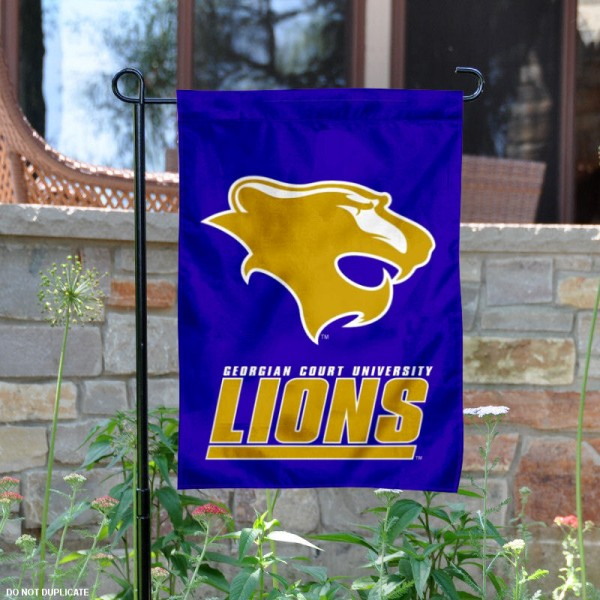 Georgian Court Lions Logo Garden Flag is 13x18 inches in size, is made of 2-layer polyester with liner, screen printed athletic logos and lettering. Available with Same Day Overnight Express Shipping, Our Georgian Court Lions Logo Garden Flag is officially licensed and approved by the university, college and the NCAA.