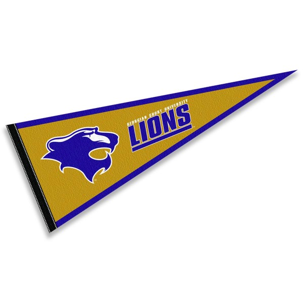 Georgian Court University Lions Pennant consists of our full size sports pennant which measures 12x30 inches, is constructed of felt, is single sided imprinted, and offers a pennant sleeve for insertion of a pennant stick, if desired. This Georgian Court University Lions Pennant Decorations is Officially Licensed by the selected university and the NCAA.