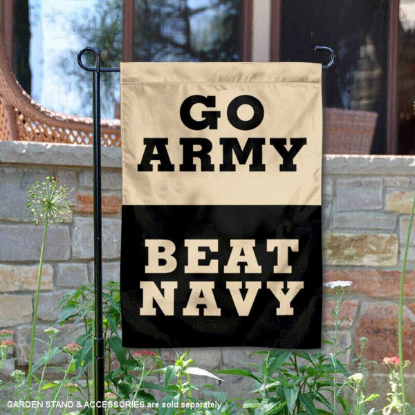 Go Army Beat Navy 2 Sided Garden Flag is 13x18 inches in size, is made of 2-layer polyester, screen printed logos and lettering. Available with Same Day Express Shipping, Our Go Army Beat Navy 2 Sided Garden Flag is officially licensed and approved by the NCAA.