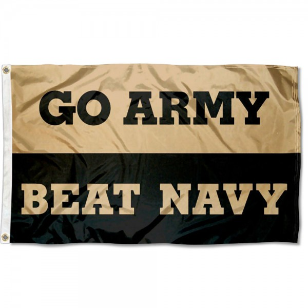Go Army Beat Navy Flag is made of 100% nylon, offers quad stitched flyends, measures 3x5 feet, has two metal grommets, and is viewable from both side with the opposite side being a reverse image. Our Go Army Beat Navy Flag is officially licensed by the selected college and NCAA