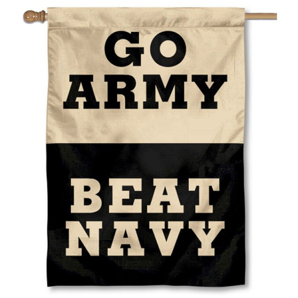 Go Army Beat Navy Flag is a vertical house flag which measures 28x40 inches, is made of double sided 100% nylon, offers screen printed college team insignias, and has a top pole sleeve to hang vertically. Our Go Army Beat Navy Flag is officially licensed by the selected university and the NCAA.