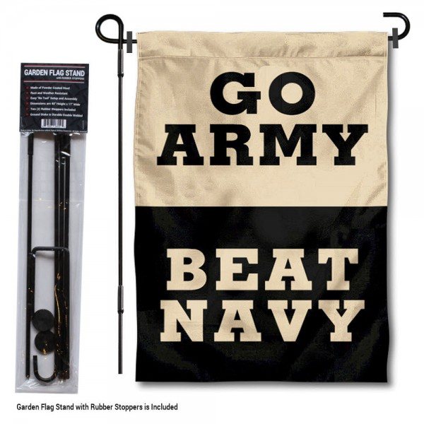 "Go Army Beat Navy Garden Flag and Stand kit includes our 13""x18"" garden banner which is made of 2 ply poly with liner and has screen printed licensed logos. Also, a 40""x17"" inch garden flag stand is included so your Go Army Beat Navy Garden Flag and Stand is ready to be displayed with no tools needed for setup. Fast Overnight Shipping is offered and the flag is Officially Licensed and Approved by the selected team."