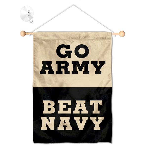 """Go Army Beat Navy Window and Wall Banner kit includes our 13""""x18"""" garden banner which is made of 2 ply poly with liner and has screen printed licensed logos. Also, a 17"""" wide banner pole with suction cup is included so your Go Army Beat Navy Window and Wall Banner is ready to be displayed with no tools needed for setup. Fast Overnight Shipping is offered and the flag is Officially Licensed and Approved by the selected team."""