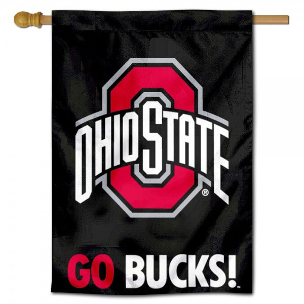 GO BUCKS Ohio State House Flag is constructed of polyester material, is a vertical house flag, measures 28x42 inches, offers screen printed NCAA team insignias, and has a top pole sleeve to hang vertically. Our GO BUCKS Ohio State House Flag is officially licensed by the selected university and NCAA.