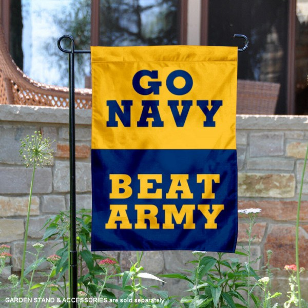 Go Navy Beat Army 2 Sided Garden Flag is 13x18 inches in size, is made of 2-layer polyester, screen printed logos and lettering. Available with Same Day Express Shipping, Our Go Navy Beat Army 2 Sided Garden Flag is officially licensed and approved by the NCAA.