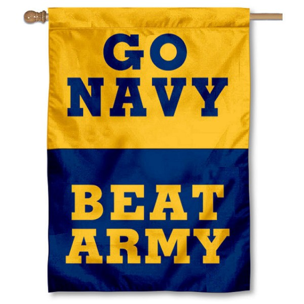 Go Navy Beat Army Flag is a vertical house flag which measures 28x40 inches, is made of double sided 100% nylon, offers screen printed college team insignias, and has a top pole sleeve to hang vertically. Our Go Navy Beat Army Flag is officially licensed by the selected university and the NCAA.
