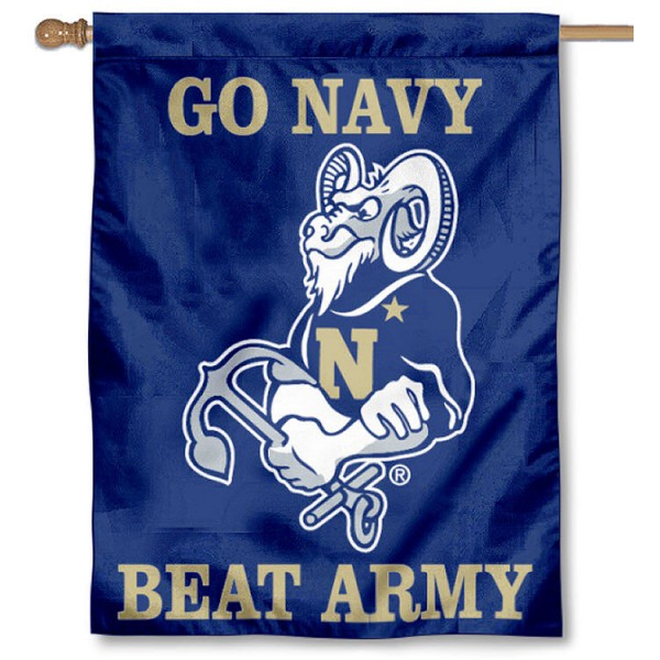Go Navy House Flag is a vertical house flag which measures 30x40 inches, is made of 2 ply 100% polyester, offers dye sublimated NCAA team insignias, and has a top pole sleeve to hang vertically. Our Go Navy House Flag is officially licensed by the selected university and the NCAA.