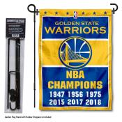 Golden State Warriors 6 Time Champions Garden Flag and Flag Pole Stand
