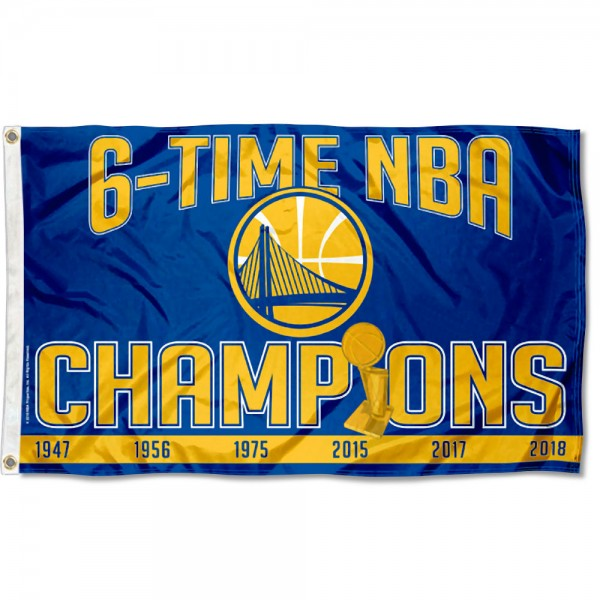 The Golden State Warriors 6 Time NBA Champions Flag is four-stitched bordered, double sided, made of poly, 3'x5', and has two grommets. These Golden State Warriors 6 Time NBA Champions Flags are NBA Genuine Merchandise.