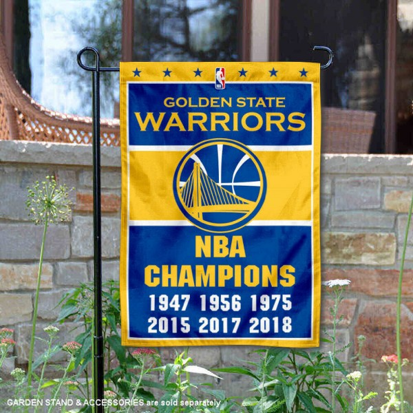 Golden State Warriors 6 Time NBA Champions Garden Flag is 12.5x18 inches in size, is made of 2-ply polyester, and has two sided screen printed logos and lettering. Available with Express Next Day Shipping, our Golden State Warriors 6 Time NBA Champions Garden Flag is NBA Genuine Merchandise and is double sided.