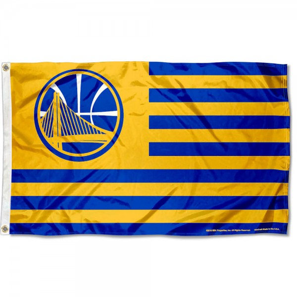 Golden State Warriors Americana Stripes Nation Flag measures 3x5 feet, is made of polyester, offers quad-stitched flyends, has two metal grommets, and is viewable from both sides with a reverse image on the opposite side. Our Golden State Warriors Americana Stripes Nation Flag is Genuine NBA Merchandise.