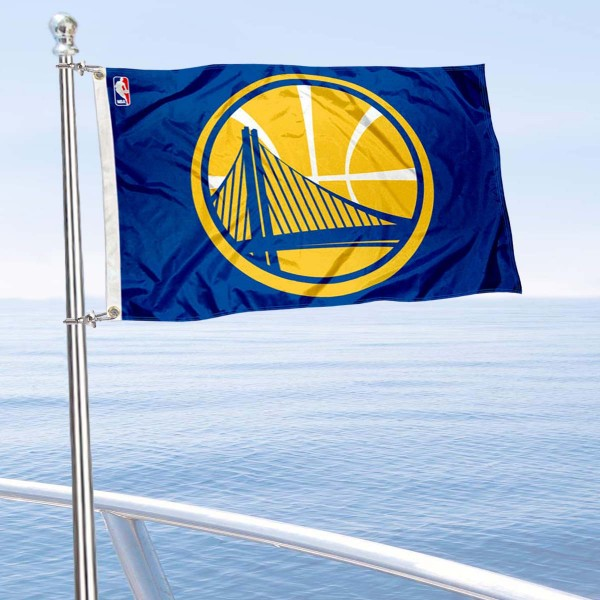 """Our Golden State Warriors Boat and Nautical Flag is 12""""x18"""", made of three-ply poly, has a solid header with two metal grommets, and is double sided. This Boat and Nautical Flag for Golden State Warriors is Officially Licensed by the NBA and can also be used as a motorcycle flag, boat flag, golf cart flag, or recreational flag."""