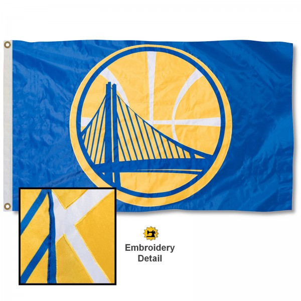 This Golden State Warriors Embroidered Nylon Flag is double sided, made of nylon, 3'x5', has two metal grommets, indoor or outdoor, and four-stitched fly ends. These Golden State Warriors Embroidered Nylon Flags are Officially Approved the Golden State Warriors and NBA.