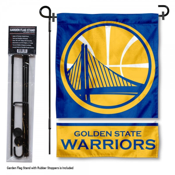 """Golden State Warriors Garden Flag and Stand kit includes our 12.5""""x18"""" garden banner which is made of 2 ply poly with liner and has screen printed licensed logos. Also, a 40""""x17"""" inch garden flag stand is included so your Golden State Warriors Garden Flag and Stand is ready to be displayed with no tools needed for setup. Fast Overnight Shipping is offered and the flag is Officially Licensed and Approved by the selected team."""