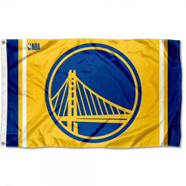 The Golden State Warriors Gold 3x5 Flag is four-stitched bordered, double sided, made of poly, 3'x5', and has two grommets. These Golden State Warriors Gold 3x5 Flags are NBA Genuine Merchandise.
