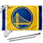 Golden State Warriors Gold Flag Pole and Bracket Kit