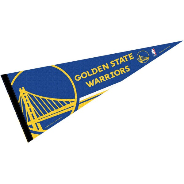 This Golden State Warriors Pennant measures 12x30 inches, is constructed of felt, and is single sided screen printed with the Golden State Warriors logo and insignia. Each Golden State Warriors Pennant is a NBA Officially Licensed product.