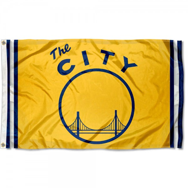 The Golden State Warriors The City Logo Flag is four-stitched bordered, double sided, made of poly, 3'x5', and has two grommets. These Golden State Warriors The City Logo Flags are NBA Genuine Merchandise.