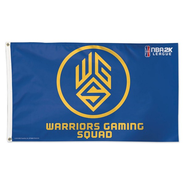 Golden State Warriors Warriors Squad NBA2K Gaming Flag measures 3x5 feet and offers 4 stitched flyends for durability. Golden State Warriors Warriors Squad NBA2K Gaming Flag is made of 1-ply polyester, has two metal grommets, and is viewable from both sides with the opposite side being a reverse image. This Golden State Warriors Warriors Squad NBA2K Gaming Flag is Officially Approved by the Golden State Warriors and the NBA.
