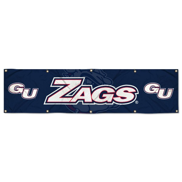 Gonzaga Bulldogs 8 Foot Large Banner measures 2x8 feet and displays Gonzaga Bulldogs logos. Our Gonzaga Bulldogs 8 Foot Large Banner is made of thick polyester and ten grommets around the perimeter for hanging securely. These banners for Gonzaga Bulldogs are officially licensed by the NCAA.