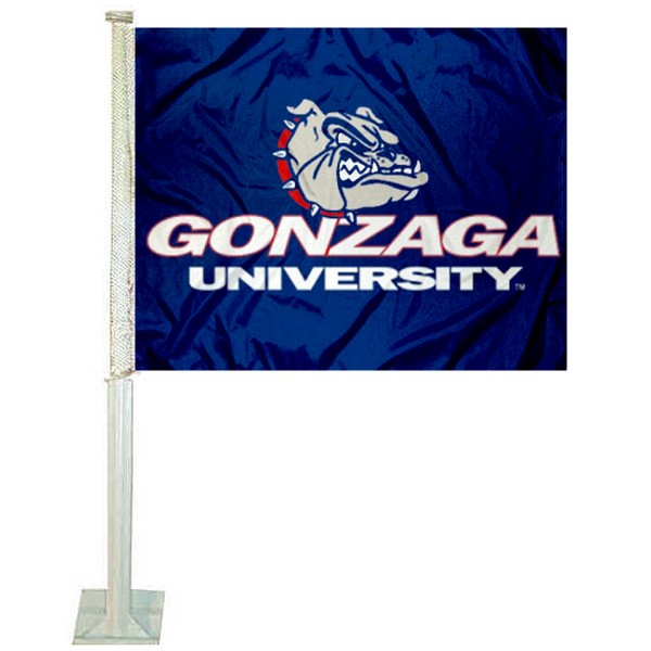 Gonzaga Bulldogs Car Window Flag measures 12x15 inches, is constructed of sturdy 2 ply polyester, and has screen printed school logos which are readable and viewable correctly on both sides. Gonzaga Bulldogs Car Window Flag is officially licensed by the NCAA and selected university.