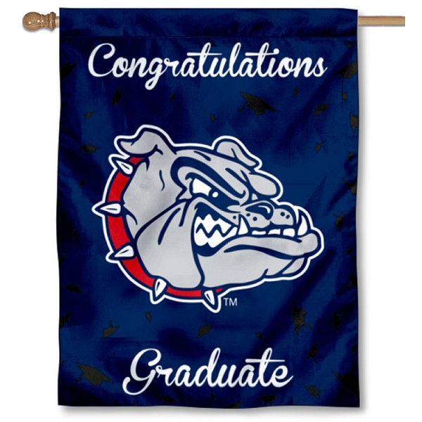 Gonzaga Bulldogs Congratulations Graduate Flag measures 30x40 inches, is made of poly, has a top hanging sleeve, and offers dye sublimated Gonzaga Bulldogs logos. This Decorative Gonzaga Bulldogs Congratulations Graduate House Flag is officially licensed by the NCAA.