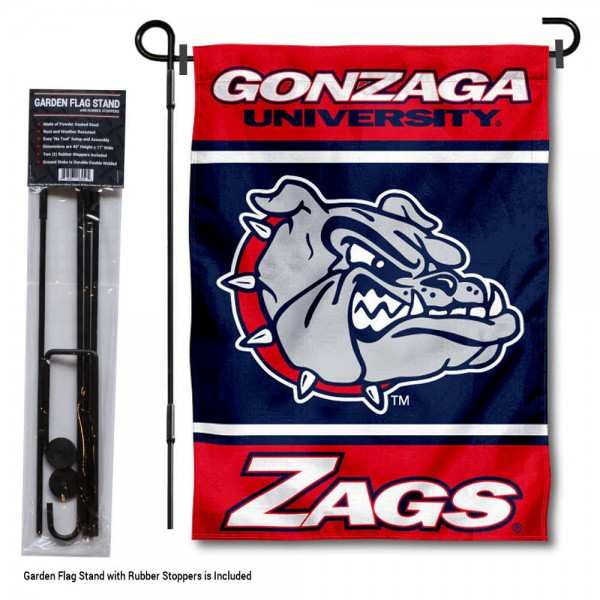 "Gonzaga Bulldogs Garden Flag and Pole Stand Holder kit includes our 13""x18"" garden banner which is made of 2 ply poly with liner and has screen printed licensed logos. Also, a 40""x17"" inch garden flag stand is included so your Gonzaga Bulldogs Garden Flag and Pole Stand Holder is ready to be displayed with no tools needed for setup. Fast Overnight Shipping is offered and the flag is Officially Licensed and Approved by the selected team."