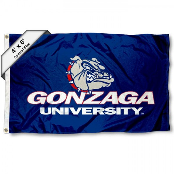 Gonzaga Bulldogs Large 4x6 Flag measures 4x6 feet, is made thick woven polyester, has quadruple stitched flyends, two metal grommets, and offers screen printed NCAA Gonzaga Bulldogs Large athletic logos and insignias. Our Gonzaga Bulldogs Large 4x6 Flag is officially licensed by Gonzaga Bulldogs and the NCAA.