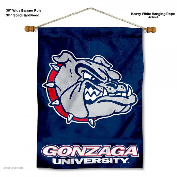 "Gonzaga Bulldogs Wall Banner is constructed of polyester material, measures a large 30""x40"", offers screen printed athletic logos, and includes a sturdy 3/4"" diameter and 36"" wide banner pole and hanging cord. Our Gonzaga Bulldogs Wall Banner is Officially Licensed by the selected college and NCAA."