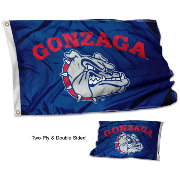 Gonzaga University Flag measures 3'x5' in size, is made of 2 layer 100% polyester, has quadruple stitched fly ends for durability, and is viewable and readable correctly on both sides. Our Gonzaga University Flag is officially licensed by the university, school, and the NCAA