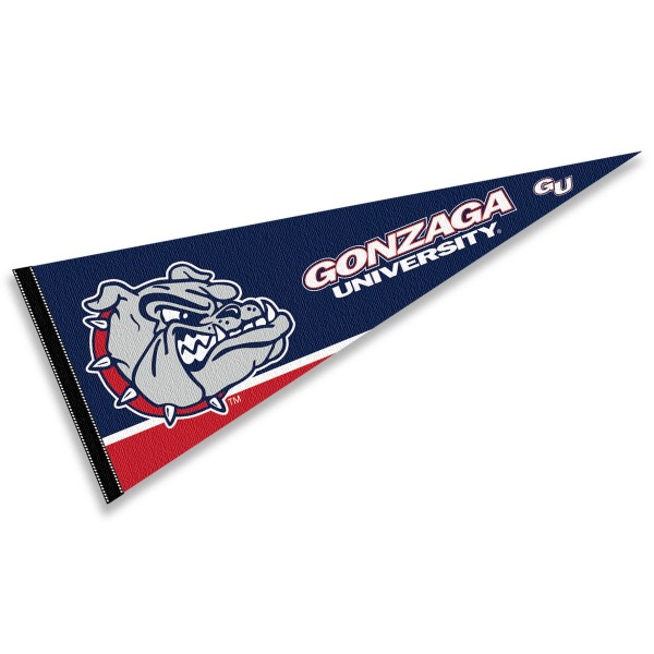 Gonzaga University Pennant consists of our full size sports pennant which measures 12x30 inches, is constructed of felt, is single sided imprinted, and offers a pennant sleeve for insertion of a pennant stick, if desired. This Gonzaga Zags Pennant Decorations is Officially Licensed by the selected university and the NCAA.