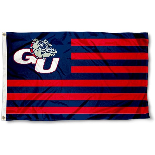 Gonzaga Zags Bulldogs Stripes Flag measures 3'x5', is made of polyester, offers double stitched flyends for durability, has two metal grommets, and is viewable from both sides with a reverse image on the opposite side. Our Gonzaga Zags Bulldogs Stripes Flag is officially licensed by the selected school university and the NCAA.