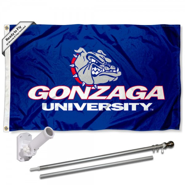 Our Gonzaga Zags Bulldogs University Logo Flag Pole and Bracket Kit includes the flag as shown and the recommended flagpole and flag bracket. The flag is made of polyester, has quad-stitched flyends, and the NCAA Licensed team logos are double sided screen printed. The flagpole and bracket are made of rust proof aluminum and includes all hardware so this kit is ready to install and fly.