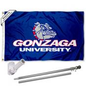 Gonzaga Zags Bulldogs University Logo Flag Pole and Bracket Kit