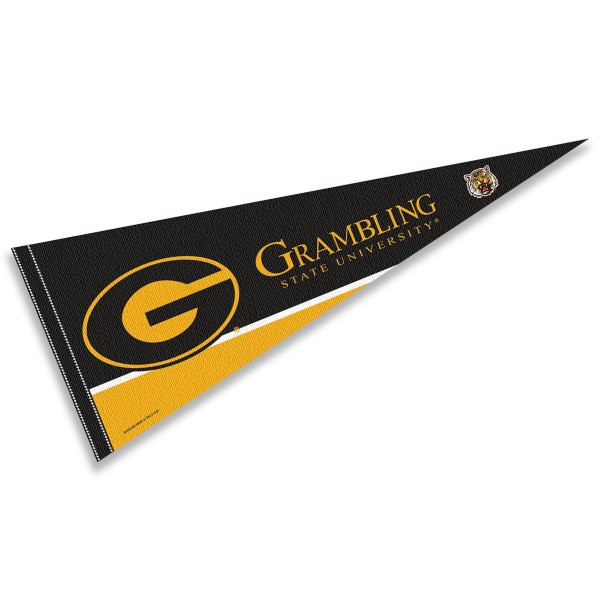 Grambling State Tigers Decorations consists of our full size pennant which measures 12x30 inches, is constructed of felt, is single sided imprinted, and offers a pennant sleeve for insertion of a pennant stick, if desired. This Grambling State Tigers Decorations is officially licensed by the selected university and the NCAA