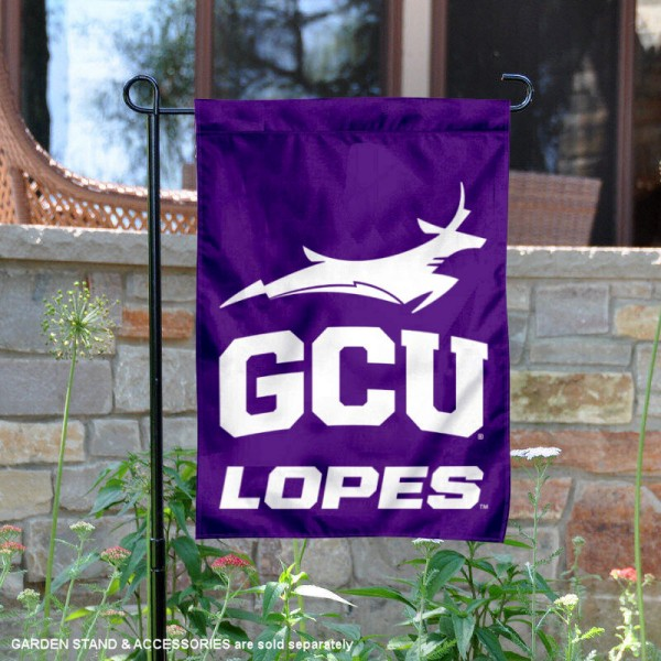 Grand Canyon Lopes Arched GCU Garden Flag is 13x18 inches in size, is made of 2-layer polyester, screen printed university athletic logos and lettering, and is readable and viewable correctly on both sides. Available same day shipping, our Grand Canyon Lopes Arched GCU Garden Flag is officially licensed and approved by the university and the NCAA.