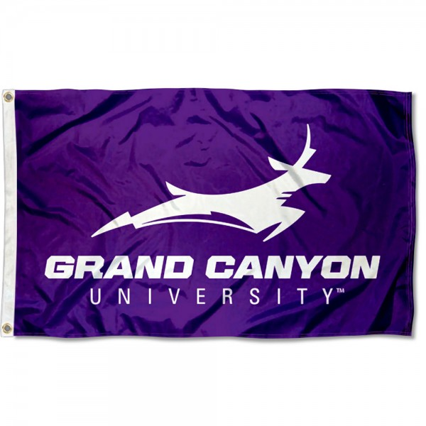 Grand Canyon Lopes Wordmark Flag measures 3x5 feet, is made of 100% polyester, offers quadruple stitched flyends, has two metal grommets, and offers screen printed NCAA team logos and insignias. Our Grand Canyon Lopes Wordmark Flag is officially licensed by the selected university and NCAA.