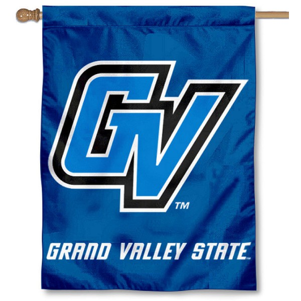 Grand Valley State House Flag is a vertical house flag which measures 30x40 inches, is made of 2 ply 100% polyester, offers dye sublimated NCAA team insignias, and has a top pole sleeve to hang vertically. Our Grand Valley State House Flag is officially licensed by the selected university and the NCAA.