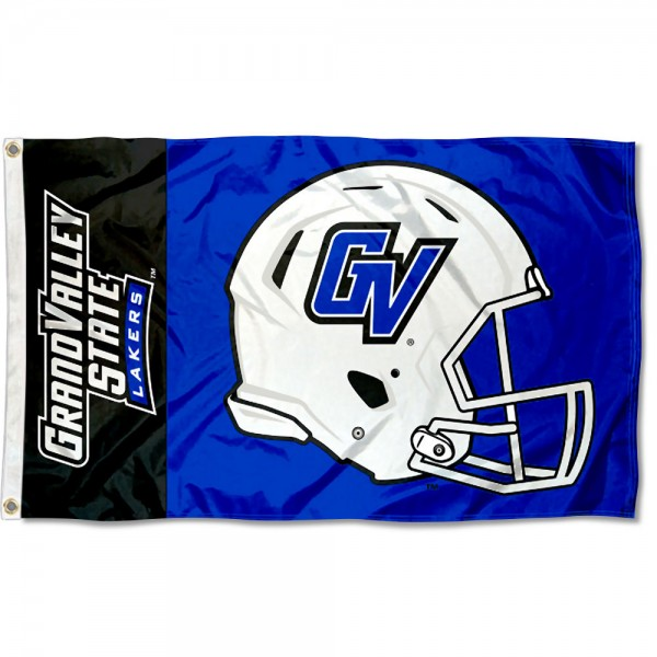 Grand Valley State Lakers Football Helmet Flag measures 3x5 feet, is made of 100% polyester, offers quadruple stitched flyends, has two metal grommets, and offers screen printed NCAA team logos and insignias. Our Grand Valley State Lakers Football Helmet Flag is officially licensed by the selected university and NCAA.