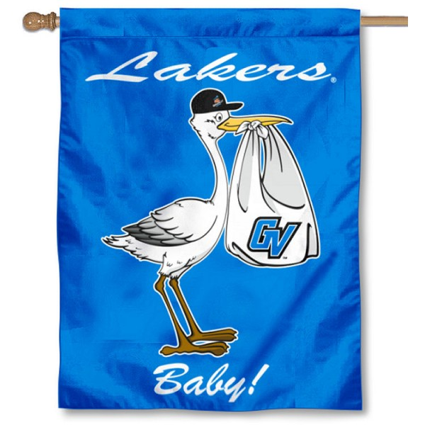 Grand Valley State Lakers New Baby Flag measures 30x40 inches, is made of poly, has a top hanging sleeve, and offers dye sublimated Grand Valley State Lakers logos. This Decorative Grand Valley State Lakers New Baby House Flag is officially licensed by the NCAA.