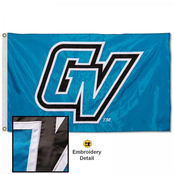 Grand Valley State Lakers Nylon Embroidered Flag measures 3'x5', is made of 100% nylon, has quadruple flyends, two metal grommets, and has double sided appliqued and embroidered University logos. These Grand Valley State Lakers 3x5 Flags are officially licensed by the selected university and the NCAA.