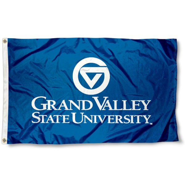 Grand Valley State University Flag is 3x5 feet in size, is constructed of polyester, has four-stitched fly ends, and the university logos are screen printed into the Grand Valley State University Flag. Our Grand Valley State University Flag is approved by the selected university and the NCAA.