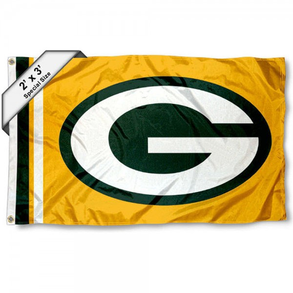 Green Bay Packers 2x3 Feet Flag measures 2'x3', is made polyester, has quadruple stitched flyends, two metal grommets, and offers screen printed NFL Green Bay Packers logos and insignias. Our Green Bay Packers 2x3 Foot Flag is NFL Officially Licensed and approved.