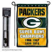 Green Bay Packers 4 Time Champions Garden Banner and Flag Stand