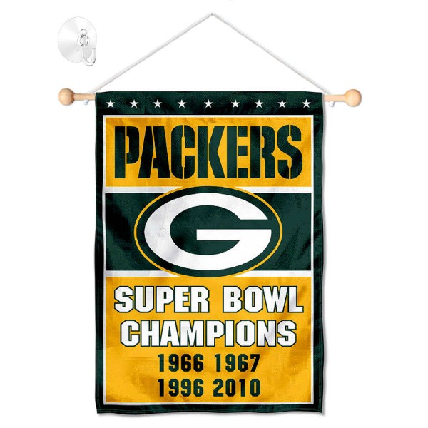 Green Bay Packers 4 Time Champions Window and Wall Banner