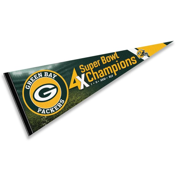 This Green Bay Packers 4 Time Super Bowl Champions Pennant Flag is 12x30 inches, is made of premium felt blends, has a pennant stick sleeve, and the team logos are single sided screen printed. Our Green Bay Packers 4 Time Super Bowl Champions Pennant Flag is NFL Officially Licensed.